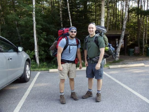 Ready to go at the Old Speck and Baldpate Mountains parking lot.