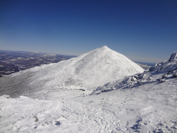 Snow covered Mt. Madison as seen from the Appalachian Trail on Mt. Adams in New Hampshire.