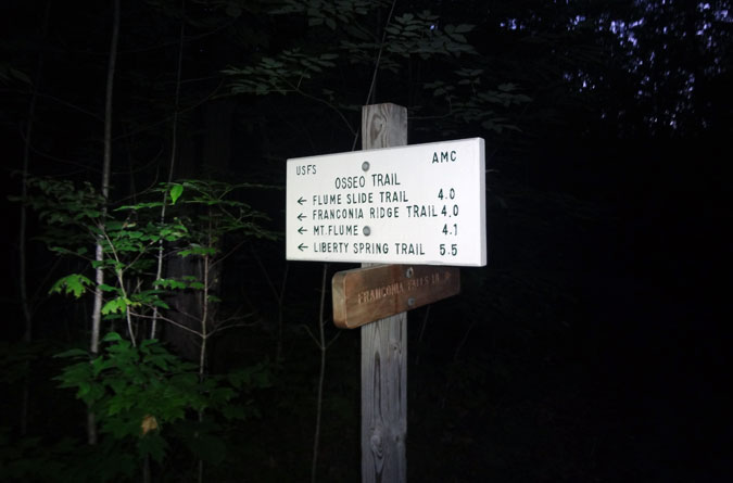 The Osseo Trail Sign for Mt. Flume