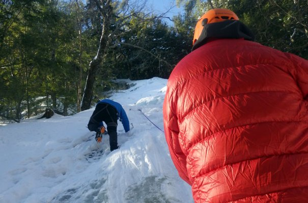 Making my way up the ice cliff. Image courtesy of Stefan Shapiro, Appalachian Mountain Club.