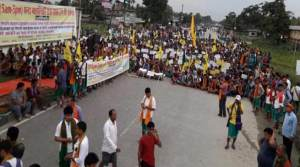 Assam: National Highway Blockade by ABSU in support of Bodoland- 3rd day