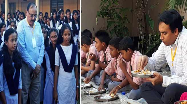 Assam: IAS, IPS officials partake in Mid-Day Meal with students during Gunotsov II in Hailakandi