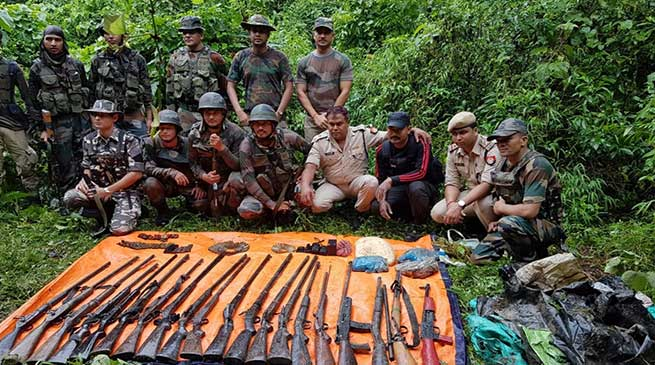 Assam: Huge Cache Of Arms, Ammunition, explosive recovered In Panbari