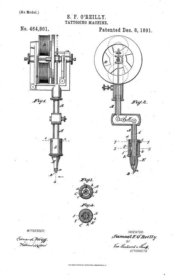 Samuel O'Reilly Tattoo Machine Patent Northeast Tattoo