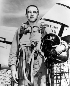 Brig. Gen. J. Robinson 'Robbie' Risner is credited with destroying eight MiG-15s and damaging another while assigned to the 336 Fighter Squadron in South Korea. On Sept. 21, 1952, the then-major scored double kills. He achieved ace status on Sept. 15, 1952, downing his fifth MiG-15. U.S. Air Force