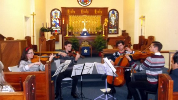 (L-R) Justine DeMarco and Josh Lynch, violin, joined by George Teague and Kasey Calebaugh.
