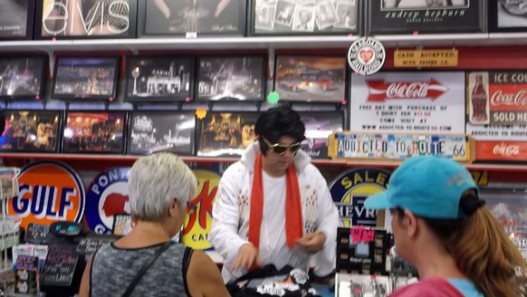 Elvis isn't dead. He works at Addicted to Route 66 Deals.