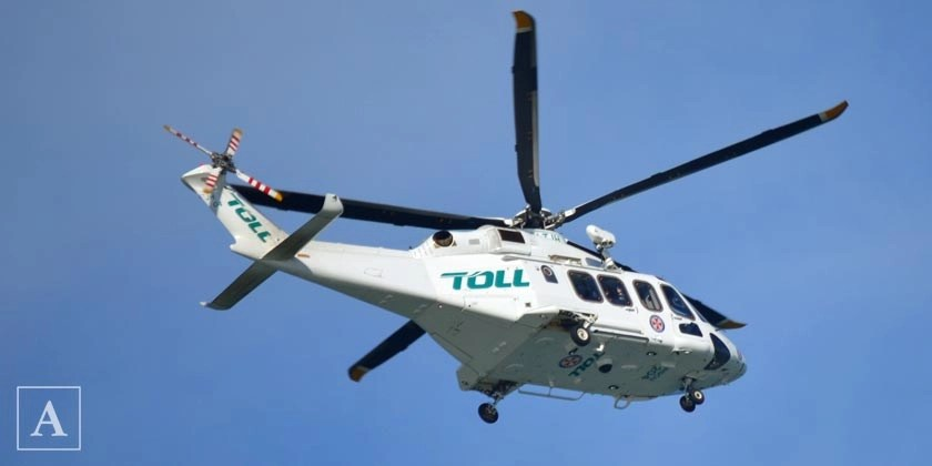 The Toll Ambulance Rescue Helicopter at Warriewood Beach