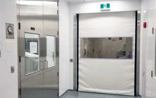 Stainless steel cleanroom swing door and high speed fabric rollup door