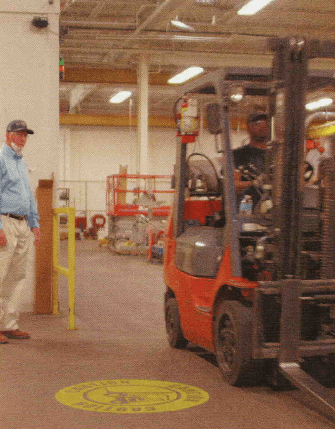 forklift activated projector