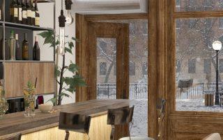 Architectural low profile air curtain restaurant bar entrance door