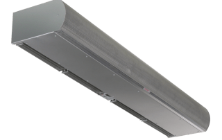 Architectural low profile air curtain stainless steel grey