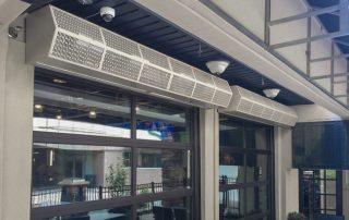Commercial high performance air curtain restaurant patio doors