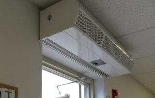 Commercial low profile air curtain swing door
