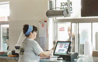 Restaurant drive thru window air curtain fast food