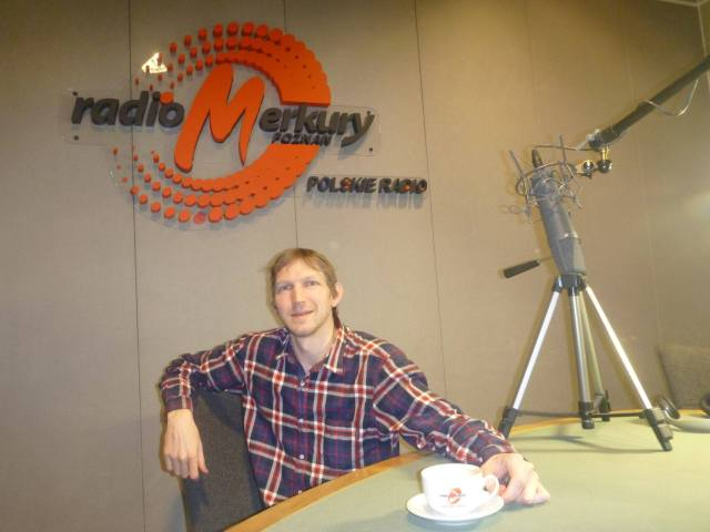Relaxing at the Radio Merkury studio, International Poznań, January 2017