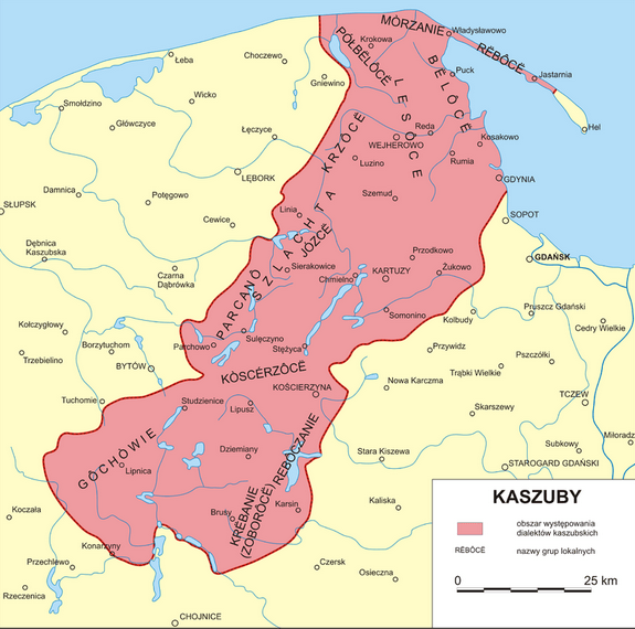 A map which demonstrates roughly the area of Kashubia, Poland