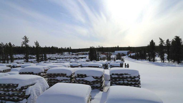 Core racks in the winter at Denison Mines' Wheeler River uranium project in Saskatchewan. Credit: Denison Mines.