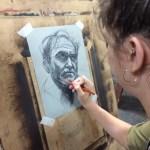 Northern Realist charcoal portrait, work in progress by student Kally Bosh