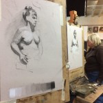 Student work on the Northern Realist figure drawing course