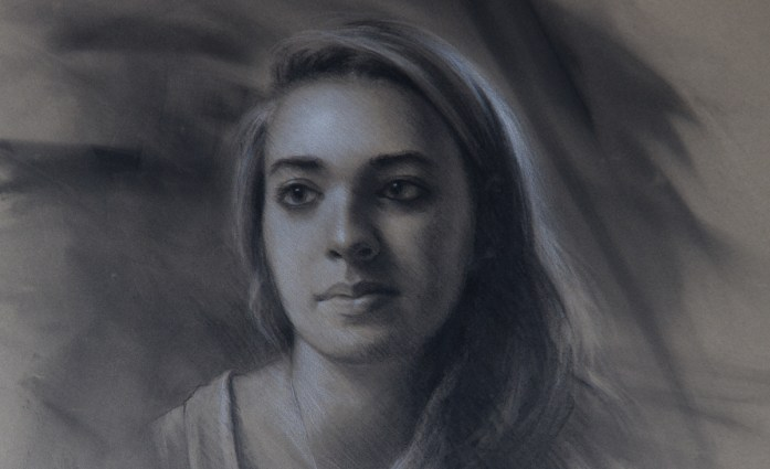 Charcoal portrait of Olivia by Christopher Clements
