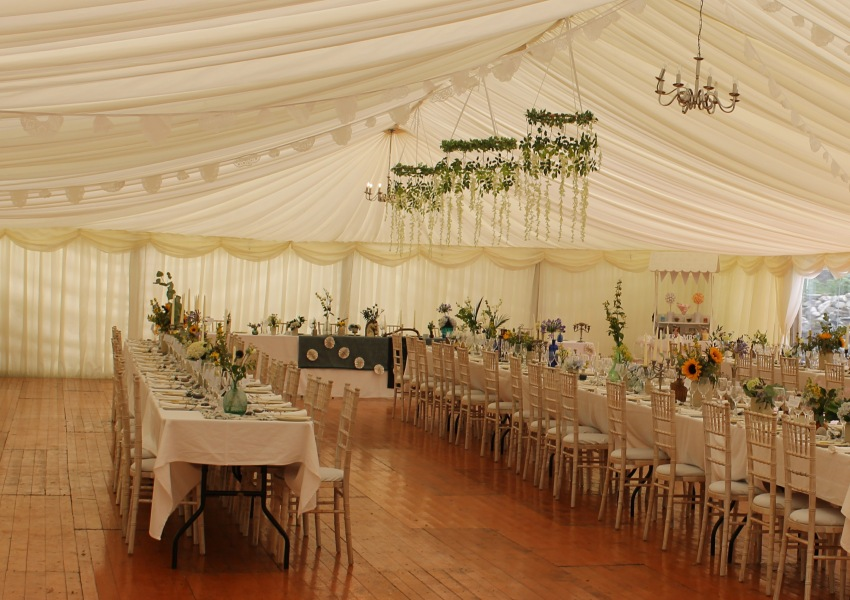 Wedding dining in Marquee