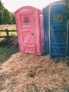 pink and blue hire portable toilet units