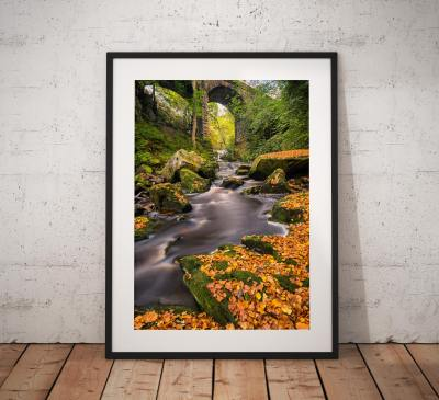 Autumn photography, Woodland, Stream, Autumnal, Trees, Viaduct, North York Moors, Countryside, Landscape Photo, England, Wall art print