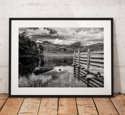 Blea Tarn view towards Great Langdale Mountains. Lake District, Cumbria, England. Landscape Photo. Mounted print. Black and white. Wall Art.