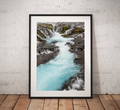 Fine Art Landscape photography, Iceland, Brúarfoss Waterfall, Water, Long Exposure, Nature, Landscape Photo. Mounted print. Wall Art.