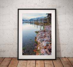 Lake District Landscape Photography, Derwentwater, Reflection, Ice, Winter, Cumbria, England. Landscape Photo. Mounted print. Wall Art.