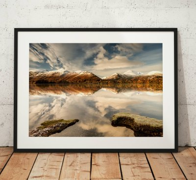 Lake District Landscape Photography, Derwentwater, Reflection, Snow, Winter, Cumbria, England. Landscape Photo. Mounted print. Wall Art.