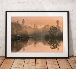 Lake District Landscape Photography. Misty scene showing the boathouse on Rydal water, England. Wall Art