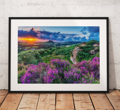 North York Moors Landscape Photography Roseberry Topping, heather, Countryside , England. Landscape Photo, Mounted print. Wall Art.