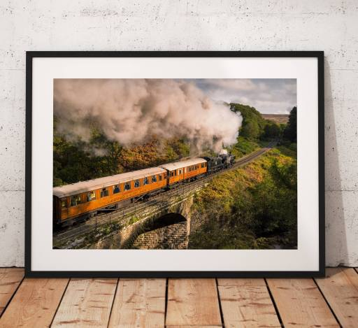 Railway photography, Steam Train, Pullman, North York Moors, Autumn, Countryside, Vintage, Retro, England, Wall art print