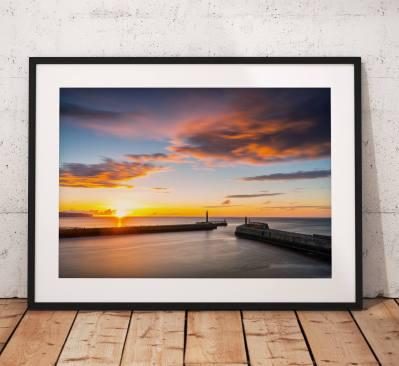 Seaside landscape photography Whitby Pier, Sunset, coast, glow, North York Moors, England. Landscape Photo. long exposure. Wall Art.
