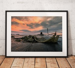 Sunrise landscape photography Whitby. Seaside, Saltwick Bay, Wreck, North York Moors, England. Landscape Photo. Long exposure. Wall Art.