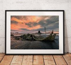 Sunrise landscape photography Whitby. Seaside, Saltwick Bay, Wreck, North York Moors, England. Landscape Photo. Long exposure. Wall Art.