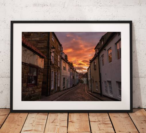 Sunset photography Whitby, Street. Cobbled, Old, Lamp,  coast, glow, North York Moors, England. Landscape Photo. long exposure. Wall Art.