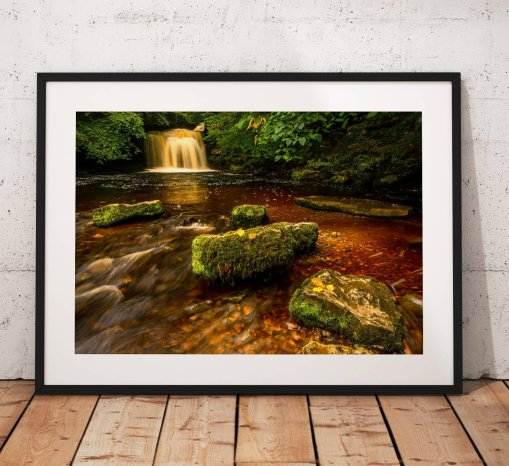 Waterfall Landscape Photography, Yorkshire Dales, water, peat,  West Burton, England.  Photo. Mounted print. Wall Art. Home Decor