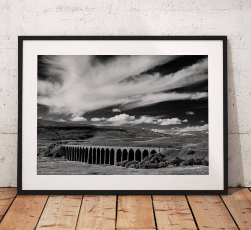 Yorkshire Dales Photography, Ribblehead Viaduct, Black and White, Drama, Railway, Cloud, England. Photo. Mounted print. Wall Art. Home Decor