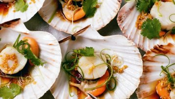 Soy chilli steamed scallops with spinach noodles