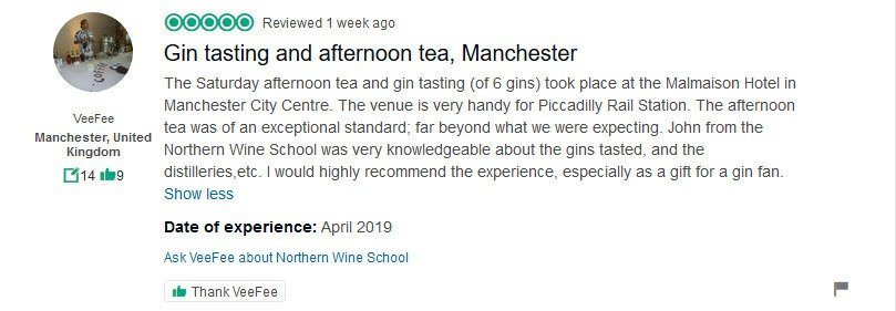 Gin Tasting With Afternoon Tea Manchester Review