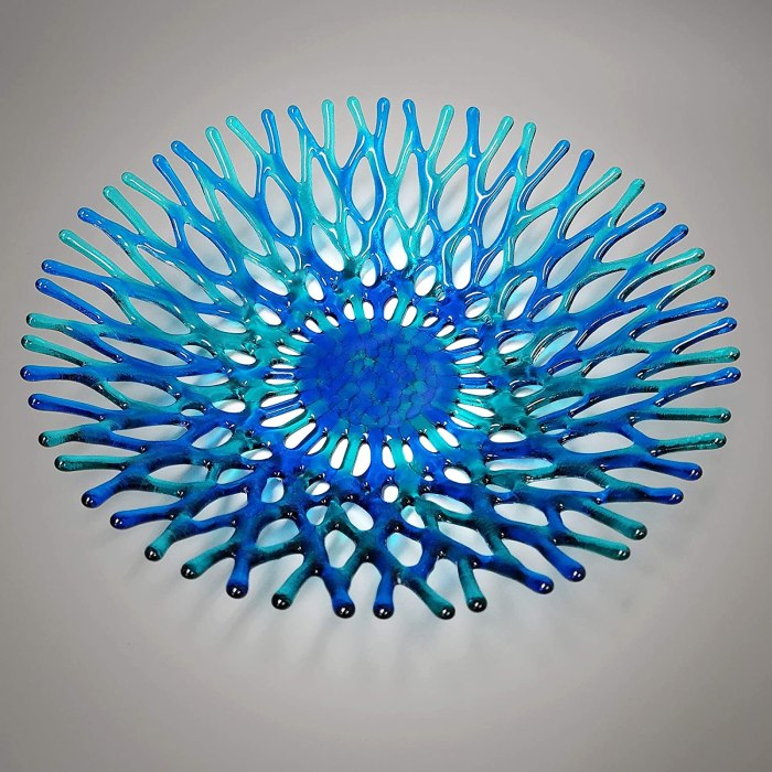 Turquoise + Blue Lacy Glass Fruit Bowl