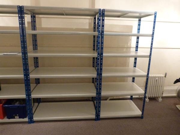 Empty shelving waiting for processed objects