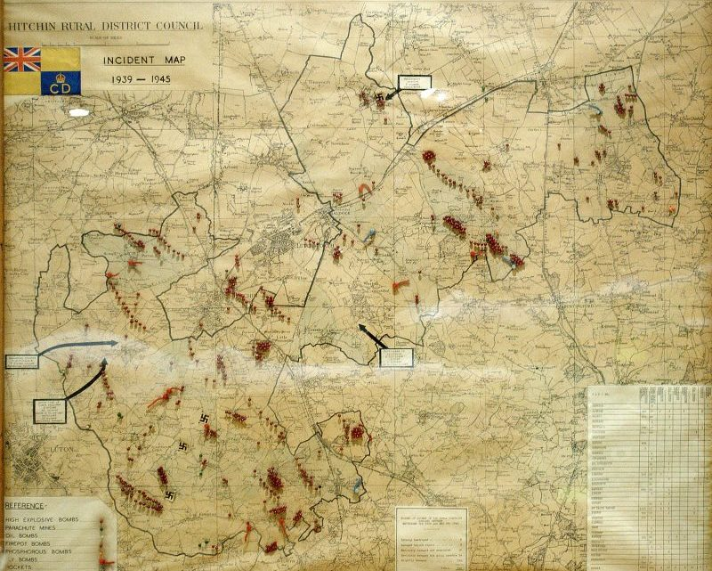 North Herts Museum update: a Second World War map of local bombs