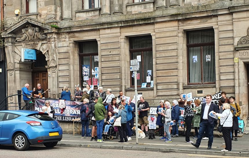 Campaigners gathered outside Maryhill Library