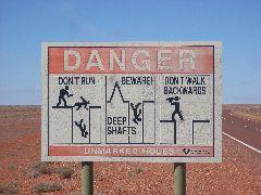 Mineshafts warning sign