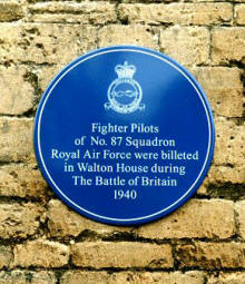 Blue plaque at Walton House