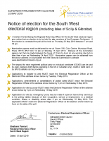 European Parliamentary Election – 23 May 2019 – Notice of Election